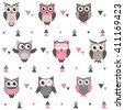Background with owls, owlets and triangles. Raster version - stock photo