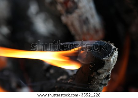 Background with single flame on dark