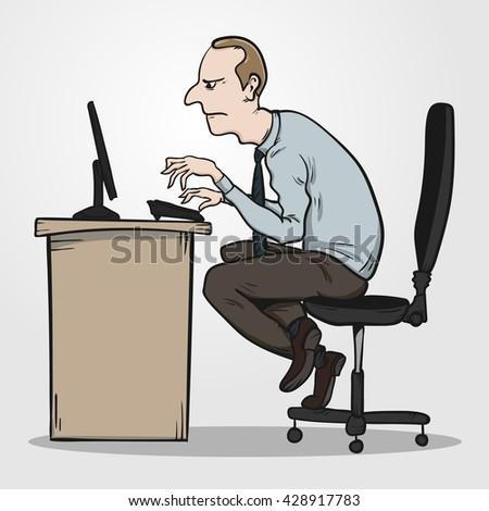 Happy Worker Desk Working On Computer Stock Vector ...