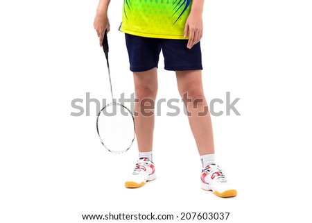 badminton player in action isolated on white background