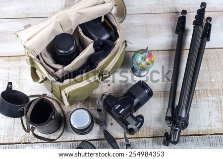 Bag and appliances for photography top view