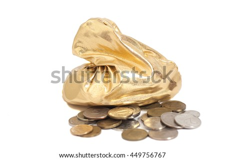 Bag  of coins isolated on a white background