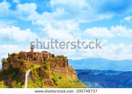 Bagnoregio town on the cliff in Lazio, Italy