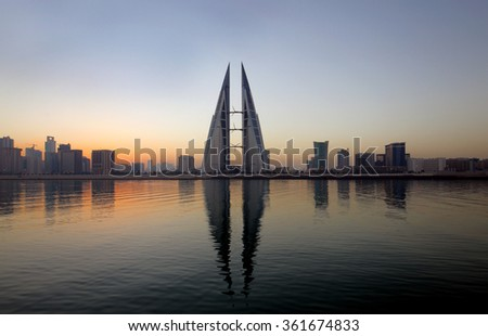 Bahrain Skyline during sunrise