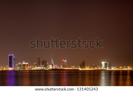 Bahrain skyline illuminated at night