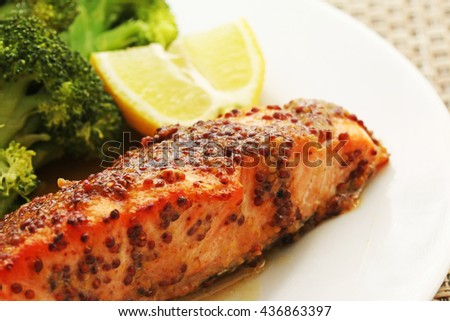 ... salmon in a mustard and honey sauce with broccoli and green beans