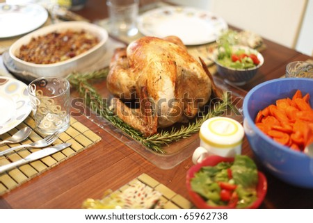 Baked turkey and sides on Thanksgiving Day.
