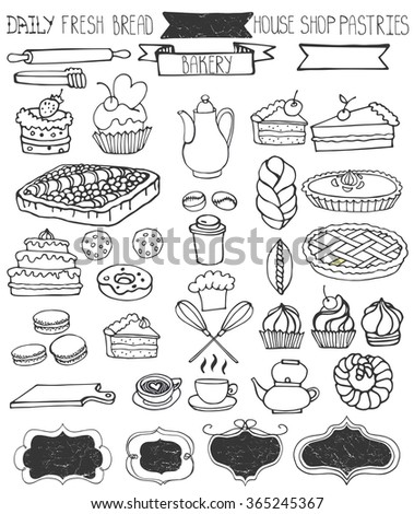 Bakery Doodle .Sweet cakes and pastries icons set with tableware,badges decor.Linear vintage elements for logo,label,menu,cafe shop. Flat hand drawn isolated items collection