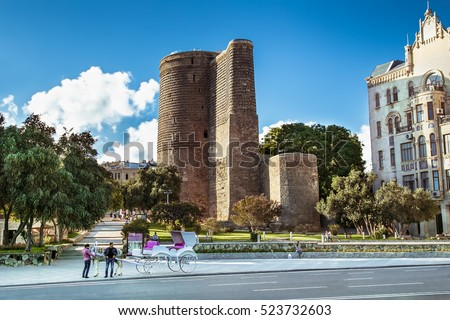 BAKU, AZERBAIJAN -OCT 3, 2016: Maiden Tower in the old town of Baku, Azerbaijan, on Oct 3, 2016. The tower is on the UNESCO World Heritage List.