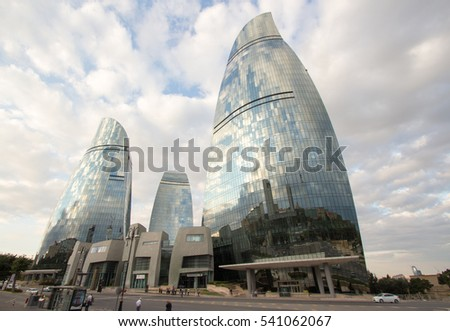 Baku, Azerbaijan ?? September   9, 2016: picture for the flame tower hotel building, the biggest   building in the Azerbaijani capital Baku, and some buildings.