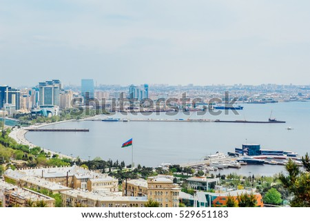 Baku cityscape with famous flagpole on the National Flag Square in Baku, Azerbaijan