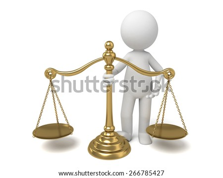 balance/3d people with a gold scale. 3d image. Isolated white background.