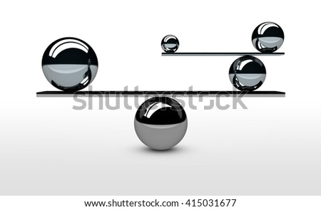 Balancing the perfect system, lifestyle and business balance concept with balanced balls of different sizes 3D illustration.