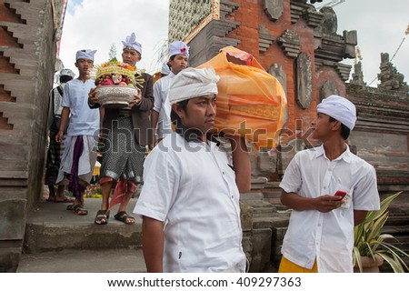 Bali Indonesia Apr 4, 2016 : Balinese people attending Meprani Ceremony at tample in Batur. Meprani is one of the Hindu ceremony in Bali Island Indonesia.