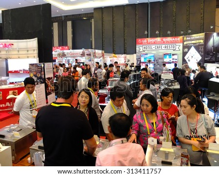 BALI, INDONESIA - SEPTEMBER 3 2015: Inter Food Bali Event. This is an exhibition of food and beverages, including wineries and coffee. The event was attended by famous chefs including Mandif Warokka.