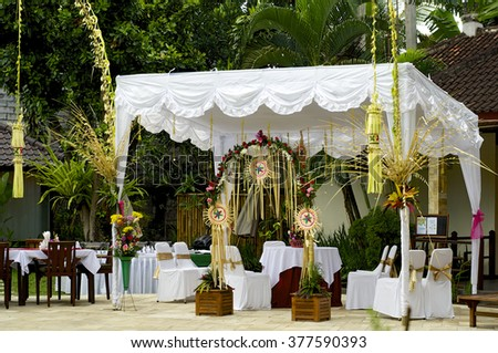 Summer cafe under awning stock photo 15056977 shutterstock for Bali wedding decoration ideas