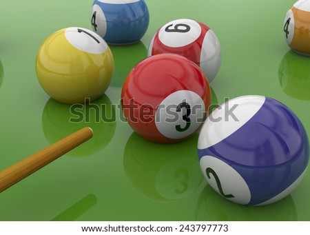 Ball of Billiards on green Table