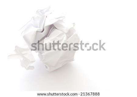 Ball of scrunched up paper isolated on a white background
