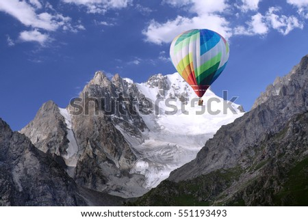 balloon aerostat over the mountains