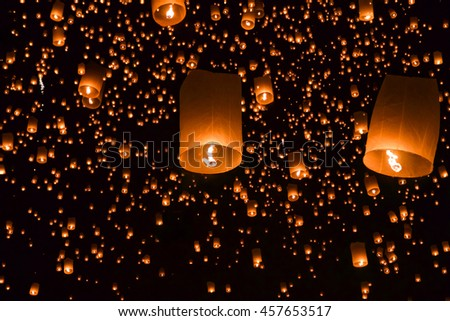 balloon fire/ yeepeng in north Thailand.Floating lantern.Sky lanterns, flying lanterns, floating lanterns, hot-air balloons Loy Krathong Festival in Chiang Mai Thailand