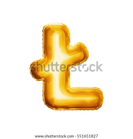 balloon letter l with stroke realistic 3d isolated gold helium balloon abc alphabet polish language