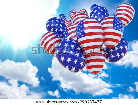 Balloon with United States of America Flag fly to beautiful sky .American Independence .copy space for text .USA election