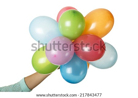 balloons in hand