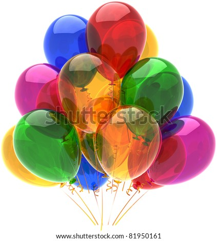 Balloons party happy birthday decoration multicolor translucent. Fun joy good abstract. Holiday anniversary retirement celebration life event occasion concept. 3d render isolated on white background