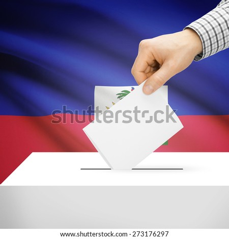 Ballot box with national flag on background series - Haiti
