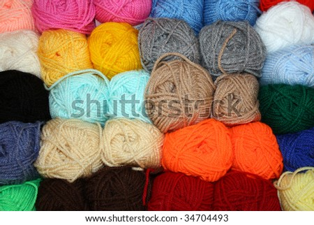 Balls of Bright Colored Wool