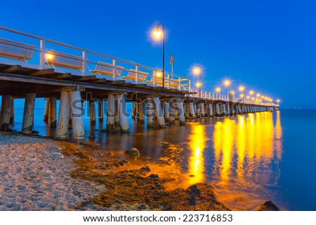 Baltic pier in Gdynia Orlowo at night, Poland