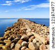 Baltic sea shore near the port of Riga, Latvia - stock photo