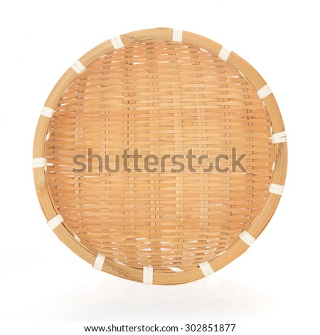 Bamboo basket hand made  isolated on white background. This has clipping path.