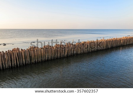 Bamboo breakwater in the sea of Bangkok Thailand, to prevent ocean wave