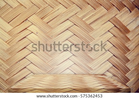 Bamboo Table Top Or Shelf On Bamboo Background For Present Your Product
