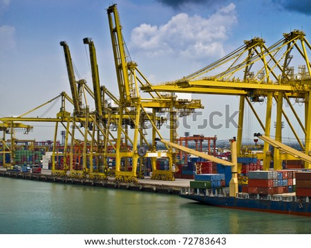 bangkok asia docks haulage industry and big yellow cranes