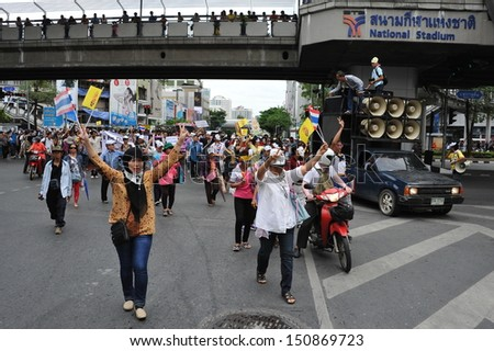 BANGKOK - AUG 17: Protesters hold an anti-government rally on Aug 17, 2013 in Bangkok, Thailand. The protesters known as V for Thailand and White Masks rallied against a controversial amnesty bill.