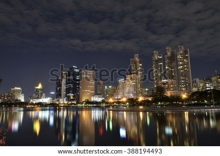 Bangkok city in the night (Select focus). The location nearby the Chaophraya river.