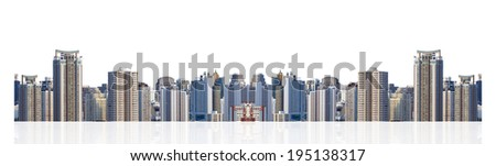 Bangkok cityscape,modern building on white background
