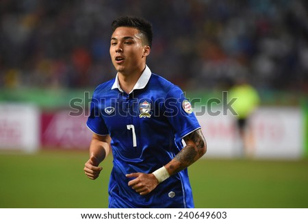 BANGKOK, DEC10:Charyl Chappuis(7) of Thailand in action during the competition 2014 AFF Suzuki Cup between Thailand and Philippines at Rajamangala stadium on December 10, 2014 in Bangkok, Thailand.