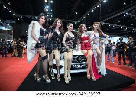 BANGKOK - December 1, 2015 : Unidentified model with BRG group on display at the 32nd Thailand International Motor Expo 2015 on December 1, 2015 in Bangkok, Thailand.
