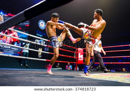 BANGKOK -FEBRUARY 6: Pechdum S. with Singpayak S. in Krudam Fight #4 on Muaythai Day at Asia Tique on February 6, 2016 in Bangkok, Thailand.