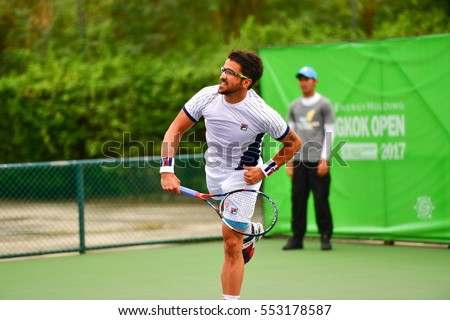 BANGKOK - JANUARY 08 : Janko Tipsarevic of Serbia winner of Wind Energy Holding Bangkok Open 2017 (ATP Challenger Tour) at Rama Gardens Hotel on January 08, 2017 in Bangkok, Thailand.