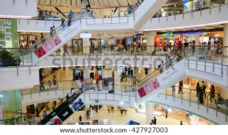 BANGKOK - Mar 10 2016: People are shopping at Central World on Mar 10 2016 in Bangkok. It is a shopping plaza and complex which is the sixth largest shopping complex in the world.