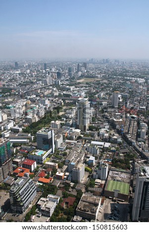 Bangkok skyscrapers. View of the city from the tallest building in Thailand, Baiyoke Tower 2