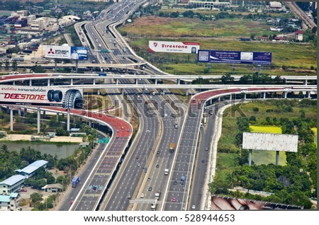 BANGKOK, THAILAND - APRIL 6: aerial view of ahighway on April 6, 2016 in Bangkok, Thailand. The Thai highway network follows the left-hand traffic rule of the road.