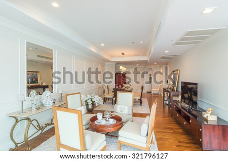 Modern Kitchen Area Attached Living Room Stock Photo 463662341