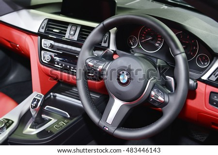 BANGKOK, THAILAND - AUGUST 26:Interior Design of BMW 4 Series Coupe show at Bangkok International Grand Motor Sale 2016 at Bitec on August 26, 2016 in Bangkok, Thailand