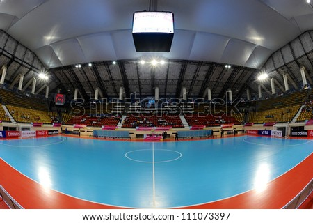 BANGKOK,THAILAND AUGUST24:View Nimibut Stadium of Thailand before the start of games during Friendly futsal match between Thailand and Spain at Nimibutr Stadium on August24,2012 in Bangkok Thailand