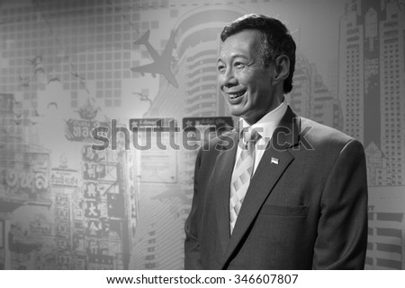 BANGKOK, THAILAND - CIRCA August, 2015: Wax figure of the famous Singapore prime minister from Madame Tussauds, Siam Discovery, Bangkok